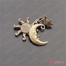 (29582)Antique Bronze Plated Zinc Alloy Sun Moon star Set Charms 10 Sets