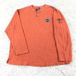 Vintage Harley Davidson Men Waffle Thermal Knit Sweatshirt XL Orange Biker Shirt