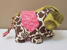 Zen Zen Forest Elephant Sachet Floral Print Buttons Pink Green Brown Plush EUC