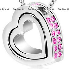 Twin Heart Pink Crystal Necklace Silver Love Xmas Presents for Her Mum Women F6