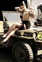 jeep willys Pinup Girl Woman Risqe Vintage Retro War Photo WW2 Size 4 x 6 inch Q