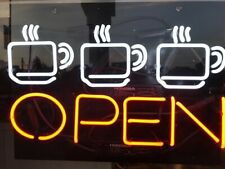 "Hot Coffee Cafe Open Neon Light Sign 24""x20"" Lamp Poster Real Glass Beer Bar"