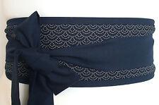 BLEU INDIGO seigiha Sashiko Style Traditionnel tissu Obi Ceinture Japon Kimono Ceinture