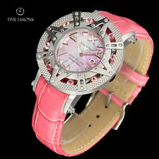 Xoskeleton 41mm Superlative Star LE Pink Topaz Gemstone MOP Leather Strap Watch