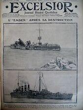 WW1 CROISEUR ALLEMAND EMDEN COULé FRONT AUTOS BLINDéS EXCELSIOR 24/12/1914