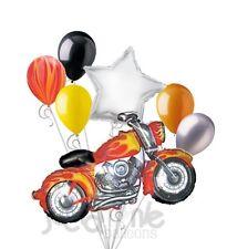 7 pc Motorcycle Happy Birthday Balloon Bouquet Hot Rod Harley Hog Party Decor