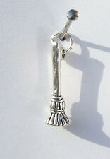 BESOM BRUSH BROOM BROOMSTICK 3D WITCH WICCA PAGAN CHARM 925 STERLING SILVER