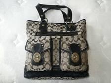Coach GIGI Signature BLACK Leather Legacy LG Tote Bag Shopper Handbag Purse EUC