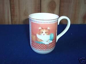 Vintage Otagiri Kitty Cat with ball of Yarn Coffee Mug Cup Sunrise
