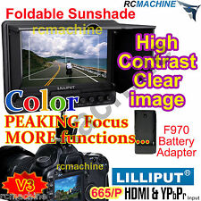 "Lilliput 7"" 665/P Peaking Focus HDMI In Monitor+F970 adapter for Canon 5d2 5d3"