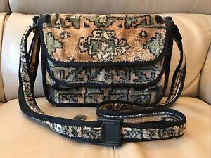 VINTAGE 'CARPET BAGS' GREEN & BROWN SHOULDER / CROSSBODY CARPET BAG