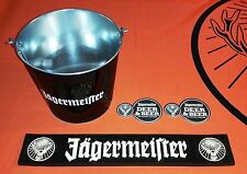 Jägermeister Black/White Rubber Bar Mat, Black Bucket, and Coasters