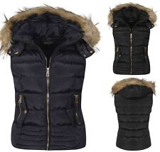 Womens Bodywarmer Faux Fur Lined Hood Gilet Navy Black Waist coat Jacket UK S-XL