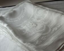 Huge 1920s Linen Damask Napkins w/ Monogram – Set Of 5 Tt461