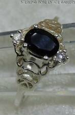 SAPPHIRE & WHITE TOURMALINE STERLING SILVER 925 ESTATE Cocktail RING size 9.5