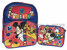 "MICKEY MOUSE BACKPACK & LUNCH BOX SET! BLUE RED BOYS SCHOOL 16"" NWT (2 PC)"