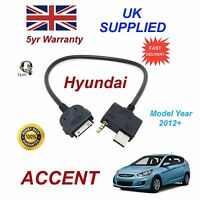 For Hyundai Accent iPhone 3 3gs 4 4S iPod USB & 3.5mm Aux Audio Cable MY 2012+