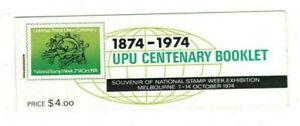 MAD45) Australia 1974 UPU Centenary Booklet (Left Staple)