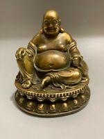 Chinese copper bronze Carved Happy Laugh Maitreya Buddha Money bag Statue