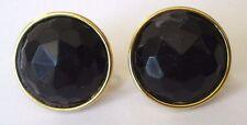 Rare boucles d'oreilles clips réglable à vis couleur or cabochon noir 640