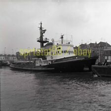 Docked Tugboat Tug 'DUGUAY TROUIN' - Vintage B&W Ship Negative