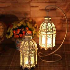 Vintage Tealight Candle Holder Moroccan Style Glass Candle Lantern White