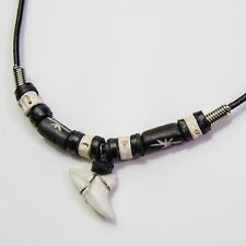 Blue shark tooth necklace cow bone bead fish vertebrae leather necklace C207