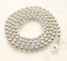 4mm Diamond Moon Cut Ball Bead Chain Necklace Real Sterling Silver ITALY QVC