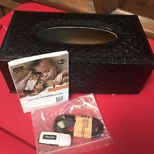 Hidden mini CAM In Designer Black Leather Tissue Box
