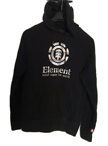 ELEMENT HOODIE BLACK TARTAN LOGO SMALL Element Skater Hoodie **MINOR MARKS*