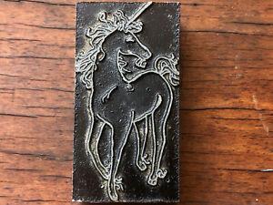 Vintage metal mounted on wood PRINTING BLOCK - majestic UNICORN horse