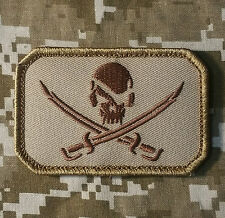 PIRATE SKULL & SWORDS FLAG CALICO JACK US ARMY USA MILITARY DESERT VELCRO PATCH