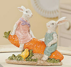 NEW Easter Bunny Seesaw Couple Glitter Rabbit Carrot Spring Holiday Decoration
