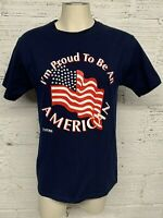 I'm Proud To Be An American T Shirt American Flag 9-11-01 Blue Adult Size M