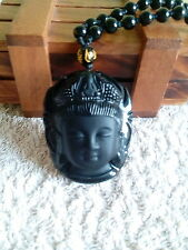 Buddha Head Pendant Beaded Necklace / Kwan Yin Buddha Face Pendant