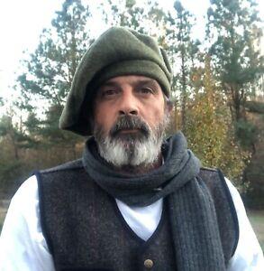 Army Green Wool Scot Bonnet Scottish Traditional Highlander Tam Hat Kilt Beret