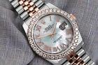 Rolex Datejust 36mm Two Tone Rose Watch Jubilee Band Custom Diamond Bezel MOP Di