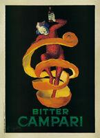 VINTAGE BAR ART PRINT - BITTER CAMPARI by Leonetto Cappiello Orange Poster 16x22
