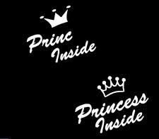 Baby Kinder Auto Aufkleber Princess oder Princ inside Schriftzug Wunschtext 28