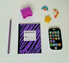 "Mini Black Cell Phone Eraser, Phone Book, Pencil for American Girl & 18"" Dolls"