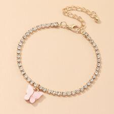 Charm Zircon Bangle Bracelet Jewelery Fashion 18K Gold Cute Pink Butterfly
