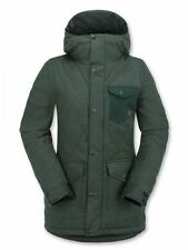 2016 NWT WOMENS VOLCOM BRIDGE INSULATED JACKET $200 S midnight green quilted