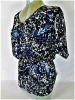 EXPRESS womens Small SHORT SLEEVE BLUE BLACK WHITE SHEER TOP BLOUSE (A)P