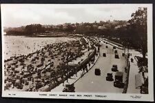 Vintage Postcard - Devon #B11 - RP Torre Abbey Sands & Sea Front Old Motor Cars