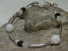 Bergkristall, Onyx & Süßwasserperlen Collier Kette Halsschmuck Black & White