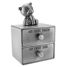 Mogoko Silver Tooth Box, Baby First Tooth and Curl Keepsake Box Set, Kids Teeth