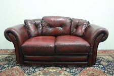 Divano chesterfield chester inglese 2 posti colore bordeaux / pelle / leather