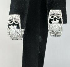 Sterling Silver 925 Hoop/Huggie Earrings ,Natural Rounds Diamonds,17 mm diameter