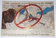 Original Print Ad 1954 CHRYSLER Corporation Steering Wheel Map vintage 2 Page
