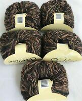5 Queensland Sandstone #8 Peach Black Browns Yarn Skeins Wool Acrylic Bulky Lot